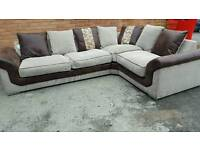Stunning 1 month old brown and beige fabric LARGE corner sofa .can deliver