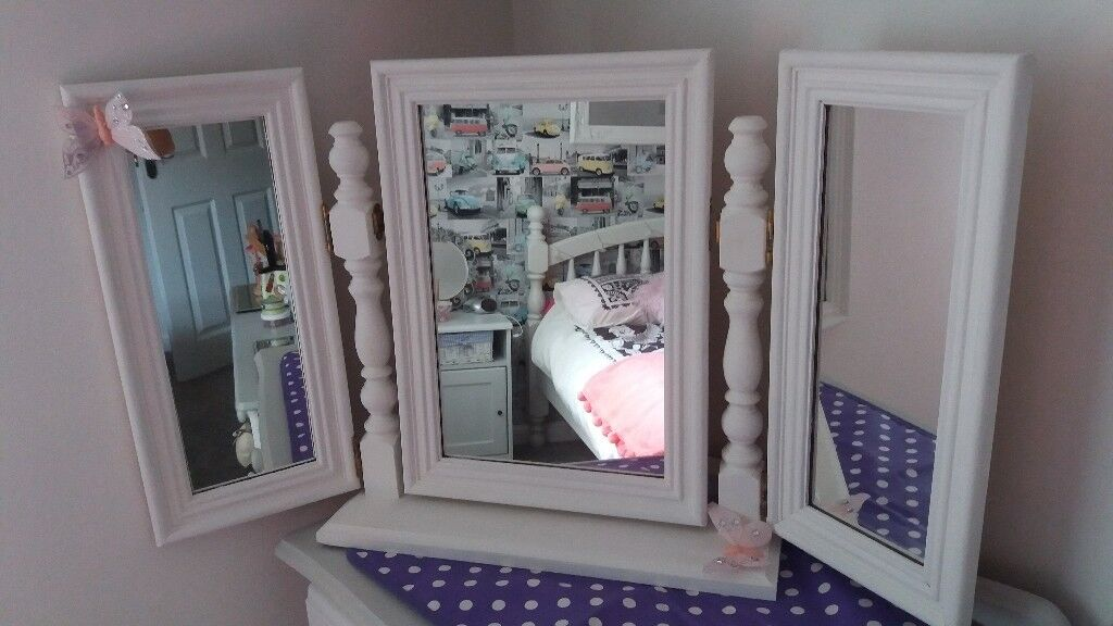 White Painted Dressing Table Mirror