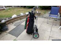 Full set of Gents Maxfli clubs,electric trolley, Bag & 50 playable balls