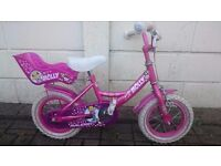 "Girl's 12"" bike with stabilisers"
