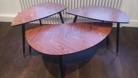 Retro coffee table and side tables in walnut