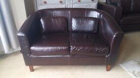 Chocolate brown leather 2 seater tub sofa