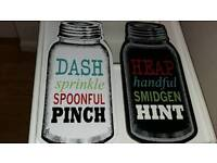 Pair of kitchen wall plaques