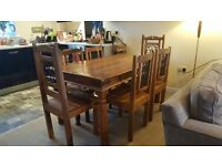 Indian wood 6 seater dining table