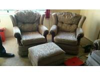 Second hand Sofa 3 seater and 2 single seats and foot stool