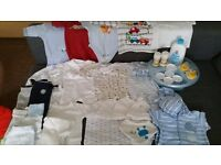 Bundle of baby items and boys clothes