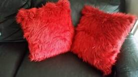 NEW pair of Red Mongolian style cushions
