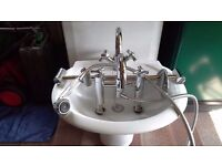 Bathroom Basin including Mixer tap also Bath Mixer Tap with with shower and riser attatchment