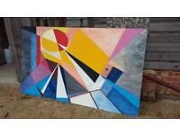 Massive Avant Garde Abstract Oil Painting.
