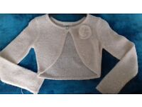 John Lewis long sleeved gold colour with sequins 9 years old cardigan / shrug