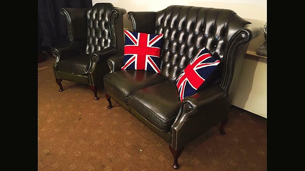 Chesterfield 2 Seater Queen Anne Sofa & Wing Back Chair