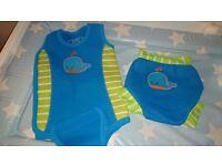 Baby wetsuit and aqua nappy