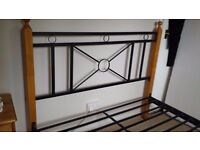 DOUBLE PINE AND BLACK IRON BED FRAME