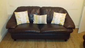 Sofa / couch 3 seater and 2 seater. Brown leather