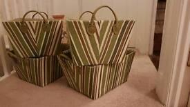 4 Green Storage Baskets