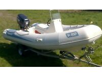 Rib Boat V-450 Selva 50hp Outboard and Trailer Rigid Inflatable