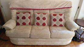 Cream Fabric 3-2-1 sofa with storage stool