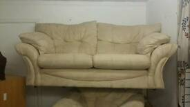 Cream Suede Effect Sofa And Recliner Armchair