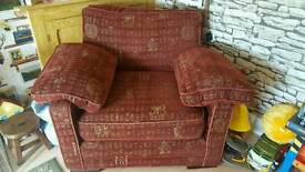 Red 3 seater sofa and chair