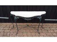 Rattan and verdigris metal console table