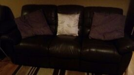 2 leather reclining 3 seater sofas