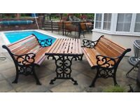 Garden table with two benches with vintage cast iron ends, all recently refurbished