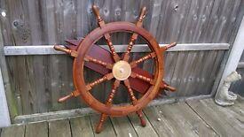 Decorative wooden ships wheel