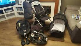 Mamas and papas sola denim pushchair, car seat and carry cot
