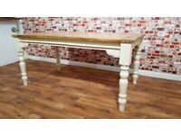 Turned leg Extendable Rustic Farmhouse Dining Kitchen Table - 5.5ft-8.5ft