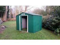 Metal Garden Shed. Green. 250cm wide by 170cm deep.