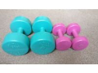 Dumbbell weights 2x 5kg and 2x 1.5kg ...