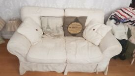 Cream 2 Seater Sofa with Removable Covers