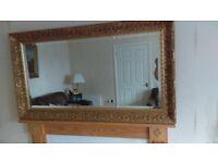 Large Gold framed overmantle mirror Bevelled edge