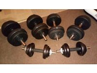 3 Sets of Dumbbells (2 x Plastic/Rubber 1 x Metal Weights) Total weight approx 52kgs