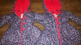 x 2 winter coats girls 9-12months twins