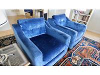 Two gorgeous dark blue velvet armchairs