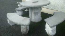 Concrete log effect patio table and benches