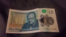 New rare AK28 polymer £5 note