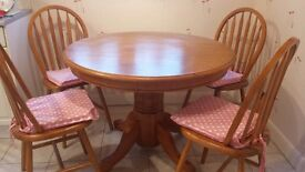 Solid wooden dining room table 4 chairs