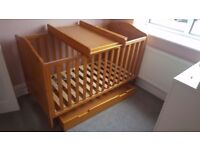 Mothercare Darlington cot bed, drawer and top changer
