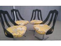 Set of 4 Retro Swivel Chairs