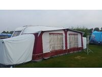 Pyramid Corsican awning in excelent condition burgundy and grey 975-1050 2.4m deep