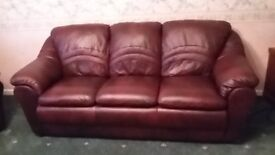 3 piece burgundy suite (3-1-1) real leather, excellent quality.