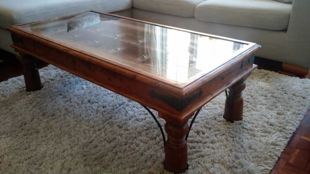 Hand Carved Indian Coffee Table With Glass Top