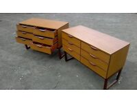 Matching pair of six drawer chests/sideboard units