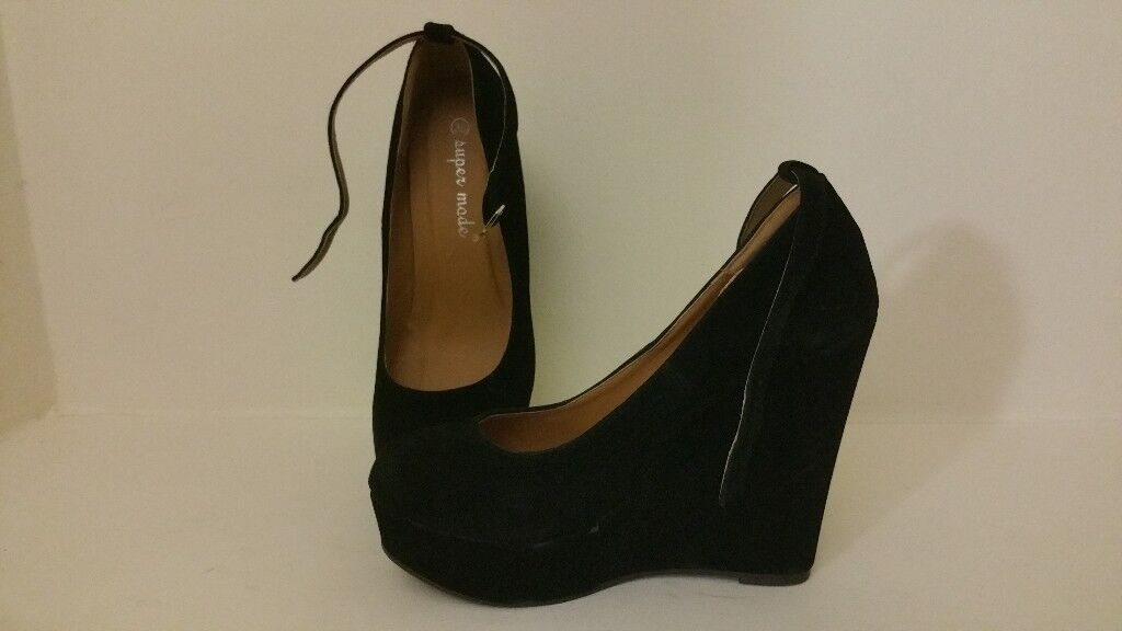 Black Suede Wedge Heels