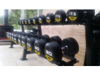 NEW r3 Rubber Round Commercial Gym Dumbbells 2.5KG - 30KG 12 pairs set + Rack