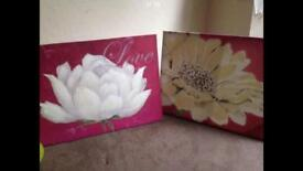 2x canvas pink flowers