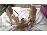Size 6 nude suede heels ladies