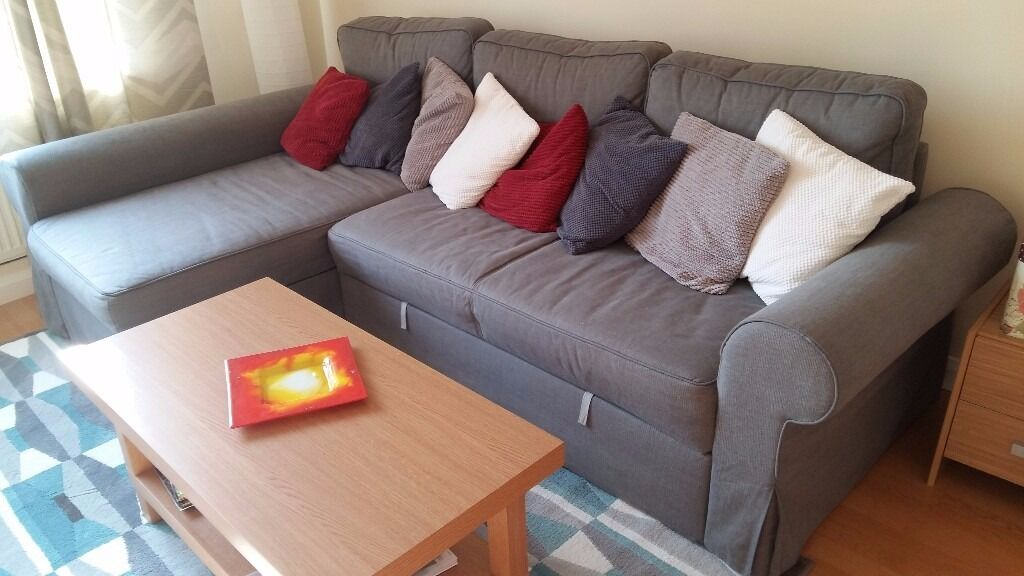 sofa bed with chaise lounge ikea backabro in twickenham london gumtree. Black Bedroom Furniture Sets. Home Design Ideas